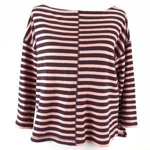 Lou & Grey Striped Pink Burgundy 3/4 Sleeve Top S